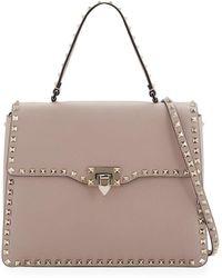 Valentino - Rockstud Medium Leather Top-handle Satchel Bag - Lyst
