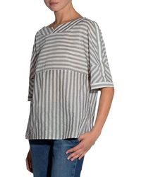 Eleventy | Striped Half-sleeve Cotton Blouse | Lyst