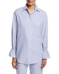 Emporio Armani - Striped Poplin Oversized Shirt With Flared Cuff - Lyst