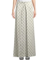 Valentino - Floor-length Hammered Metallic Rose-print A-line Skirt - Lyst
