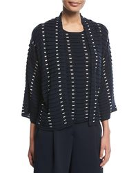 Emporio Armani | Open-front Long-sleeve Easy Jacquard Knit Cardigan | Lyst