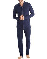Hanro - Narius Contrast-piping Jersey Pajama Set - Lyst