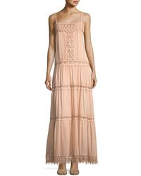Queen & Pawn - Square-neck Sleeve Cotton-silk Maxi Dress With Lace Details - Lyst