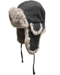 1fb149aa57e Hot Crown Cap - Wool Aviator Hat With Rabbit Fur Charcoal - Lyst