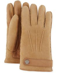 Brunello Cucinelli - Men's Shearling-lined Suede Gloves - Lyst
