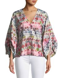 Alexis | Charlie V-neck Watercolor-print Silk Crepe Top | Lyst