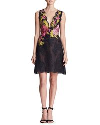 Marchesa - Plunging Sleeveless Fit-and-flare Corded Lace Mini Cocktail Dress - Lyst
