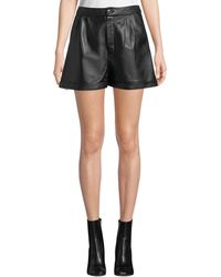 FRAME - Pleated Leather Culotte Shorts - Lyst