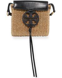 Tory Burch - Miller Straw Crossbody (midnight) Handbags - Lyst