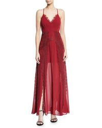 Aijek - Lavinia Chiffon & Lace Maxi Dress - Lyst