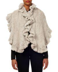 Gorski Mink Fur Knit Stole W/ Ruffled Trim