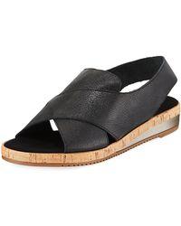 Sesto Meucci - Sabita Cinzano Leather Demi-wedge Flat Sandal - Lyst