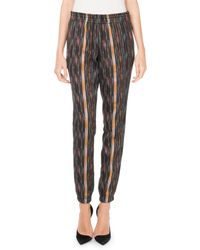 Saint Laurent - Drawstring Ikat-print Straight-leg Pants - Lyst