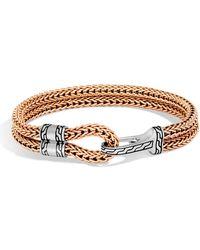 John Hardy - Men's Classic Chain Sterling Silver & Bronze Station Bracelet - Lyst