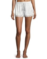 Neiman Marcus - Lace-trimmed Silk Shorts - Lyst