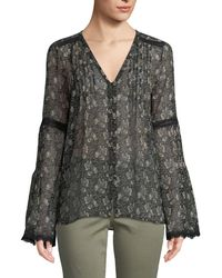 PAIGE - Clio V-neck Bell-sleeves Floral-print Sheer Silk Blouse W/ Lace - Lyst