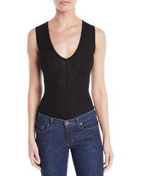 Theory - Sleeveless Pointelle V-neck Bodysuit - Lyst