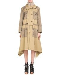 Chloé - Zip-front Mid-calf Parka Coat W/ Nylon Patch Pockets - Lyst