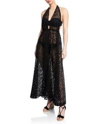 MILLY - Katrina Plunging Halter Coverup Maxi Dress - Lyst