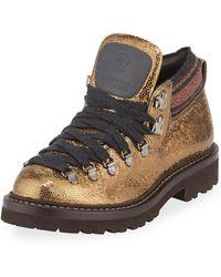 Brunello Cucinelli - Metallic Leather Hiking Booties - Lyst