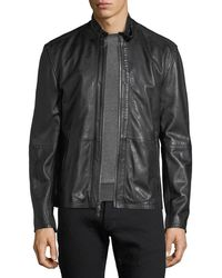 John Varvatos | Leather Racer Jacket W/ Buckle Tab | Lyst