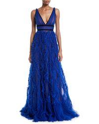 Marchesa notte - Lattice Textured & Velvet Trim Gown - Lyst