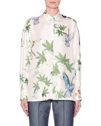80ba0e48d2cc8c Agnona - Long-sleeve Botanical-print Button-front Shirt - Lyst