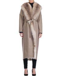 Giuliana Teso - Wool-blend Wrap Coat With Fox Fur Trim - Lyst