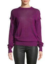 Helmut Lang | Crewneck Long-sleeve Cashmere Fray Sweater | Lyst
