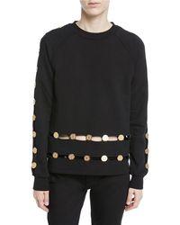 Balmain - Long-sleeve Crewneck Sweatshirt W/ Inset Coin Detail - Lyst