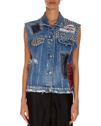 Redemption - Sleeveless Button-front Denim Jacket With Patches & Studs - Lyst