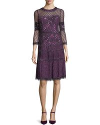 Aidan Mattox - Embroidered Sheer Bell-sleeve Cocktail Dress - Lyst