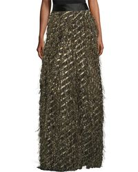 MILLY - Fringed Diagonal Metallic Ball Skirt - Lyst