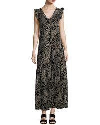 Opening Ceremony - Floral Glitter V-neck A-line Maxi Dress - Lyst