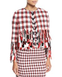Oscar de la Renta - Open-front Houndstooth Tweed Jacket With Paillettes - Lyst