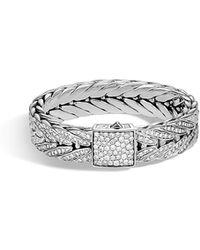 John Hardy - Men's Modern Chain Silver Bracelet W/ Diamonds - Lyst