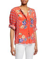 6d3bf3d62ea Tolani - Plus Size Stella Floral Button-front Long-sleeve Tunic - Lyst