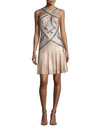 Hervé Léger - Tricolor Sleeveless Halter-neck Bandage Cocktail Dress - Lyst