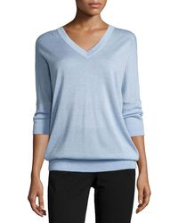 Derek Lam - 3/4-sleeve V-neck Sweater Chambray - Lyst