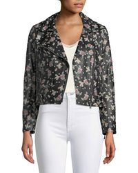 Rebecca Minkoff - Wes Zip-front Printed Leather Moto Jacket - Lyst