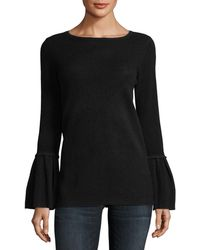 Neiman Marcus - Pleated Bell-sleeve Boat-neck Cashmere Sweater - Lyst