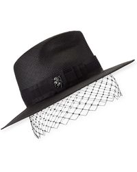 c95bce84966ba Philip Treacy - Low Pinched Trilby W  Veiling - Lyst