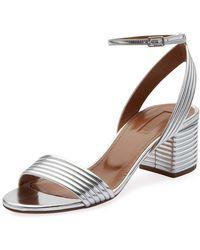 e582b06be59 Aquazzura - Sundance 50mm Metallic Leather Block-heel Sandals - Lyst