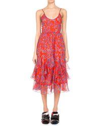 Pascal Millet - Floral-print Chiffon Ruffle-hem Midi Dress - Lyst