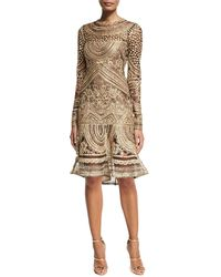 Naeem Khan | Embroidered Long-sleeve Cocktail Dress | Lyst
