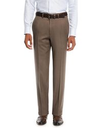 Brioni - Men's Wool Straight-leg Twill Trousers - Lyst