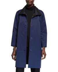 Eileen Fisher - Reversible Button-front Coat With Stand Collar - Lyst