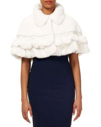 Gorski - Mink & Fox Fur Ruffled Capelet W/ Leather And Lace Trim - Lyst