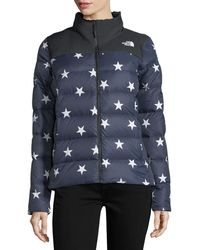 The North Face | Nuptse Relaxed Full-zip Jacket W/ Star Print | Lyst