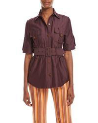 Derek Lam - Short-sleeve Belted Utility Shirt - Lyst